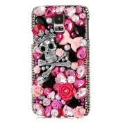 S5 Case,Samsung Galaxy S5 Case - EVTECH 3D Handmade Bling Crytal Luxury Full Diamond Rose Case Shiny Butterfly Flower with Shiny Sparkly Glitter Diamond Rhinestone Hard Back Case Black Cover for Samsung Galaxy S5 I9600 SM-G901
