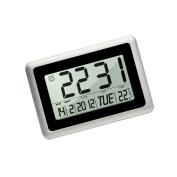HeQiao Slim Large LCD Digital Alarm Clock Day Date Digital Calendar Day Clock Large Digital Wall Clock Silent Desk Clocks Battery Alarm Clock for Home Office-Black