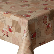 PVC Tablecloth Hoot Red 2 Metres (200cm x 140cm), Owls Polka Dot Stripes Gingham Cheque Floral Leaf, Latte Brown Beige Red Cream, Wipe Clean, Vinyl / Plastic Table Cloth