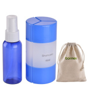 Travel Bottles-Refillable TSA Approved Leak Proof Travel Containers Set for Travel Size Toiletries Perfect for Carry On Luggage with 45ml 3 in1 Bottles+50ml Cobalt Blue Spray Bottle+1 Cotton Pouch