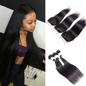Soft and Silky Straight Hair with Closure Human Hair Straight 3/4 Bundles with 4x4 Lace Closure  .    .