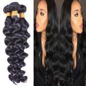 XCCOCO Hair Peruvian Virgin Hair Loose Wave Hair Weave 3 Bundles 300g Unprocessed Loose Deep Wave Virgin Human Hair Weave Natural Black