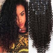 Foxys' Hair African American Clip In Human Hair Extensions Brazilian Virgin Hair Clip Ins Deep Curly Clip In Hair Extensions 120g/set,natural colour 60cm