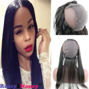 Rossy & Nancy 360 Lace Band Frontal Closure Silk Straight Natural Hairline Brazilian Virgin Remy Human Hair with Wig Cap Baby Hair Bleached Knots Natural Black Colour for Women