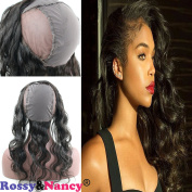 Rossy & Nancy 360 Lace Band Frontal with Wig Cap Body Wave Brazilian Virgin Remy Human Hair Closures with Baby Hair Bleached Knots Natural Black Colour