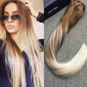 Full Shine 41cm 100gram 10 Pcs Colour #12 Fading to #60 Blonde Balayage Human Hair Extensions Clip Remy Hair Double Weft Clip in Human Hair Extensions Thick Human Hair