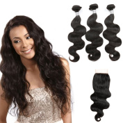 8A Grade Virgin Unprocessed Human Hair Brazilian Body Wave With Closure 3 Bundle With Lace Closure Human Hair With Closure Top Quality