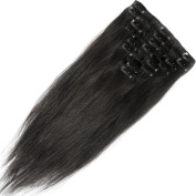Clip in 100% Remy Human Hair Extensions 10/13/16/18/20/2.3cm 90-120g 8 Piece Full Head Silky Straight #1 Jet Black