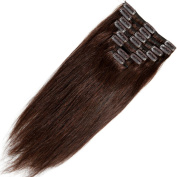 Clip in 100% Remy Human Hair Extensions 10/13/16/18/20/2.3cm 90-120g 8 Piece Full Head Silky Straight #2 Dark Brown