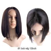Hot Beauty Hair 5 Styles Natural Black Virgin Hair Bob Wig Short Straight Lace Wig Glueless for Black Women +a Free Wig Cap
