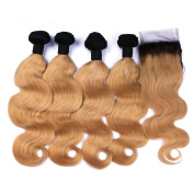 Tony Beauty Hair Strawberry Blonde Ombre 4x4 Lace Closure With Weave Bundles Body Wave 1B/27 Honey Blonde Ombre Brazilian Virgin Hair Wefts 4Pcs With Closure 5Pcs Lot