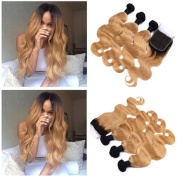 Tony Beauty Hair Black and Strawberry Blonde Ombre 13x4 Lace Frontal Closure With Weave Bundles 1B/27 Honey Blonde Ombre Peruvian Body Wave Human Hair Wefts With Frontal 4Pcs Lot