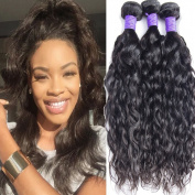 Lemoda 7A Peruvian Water Wave Weave 100%Human Virgin Hair 3Bundles with 10cm x 10cm Lace Closure 100g/bundle 7A Grade Unprocessed Human Hair