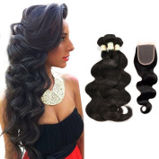 Morichy Body Wave Malaysian Human Hair 3 Bundles with Closure 100% 7A Unprocessed Virgin Malaysian Hair Body Wave with Closure Human Hair Extensions Bundles with Free Part Closure (4×4)