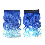 Adela Fashion Synthetic Two Tone Women Wig Hairpieces Curly Wavy One Piece Clip in Hair Extensions (3/4 Full Head) 45cm for Women Lady Girl-Sapphire Blue to Dream Blue