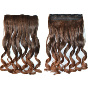 Deercon Women Curly 5 Clips Synthetic Hair Extensions 45CM