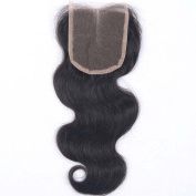 ALYSSA Hair Middle Part Brazilian Lace Closure Natural Black 10cm x 10cm Body Wave Virgin Human Hair Closure With Baby Hairs Bleached Knots 30cm