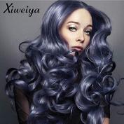 Xiweiya Long Wavy Wig Dark Grey Blue Women's Grey Blue Hot Heat-Resistant Synthetic Lace Front Wig 60cm