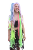 Nuoqi Anime Girls Shiro Rainbow Colourful Long Clip on Ponytails Cosplay Hairs Wig