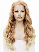 Lace Wig Long 60cm Wave Synthetic Lace Front Wig Ombre Orange 150-180% High Density