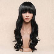 Secretgirl Long Wavy Black Wig With Bangs Women Synthetic Full Head Cosplay Party Wigs