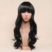 Secretgirl Long Wavy Black Wig With Bangs Women Synthetic Full Head Cosplay Party Wigs