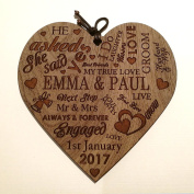 Engagement Plaque Personalised Word Art Gift Marriage Anniversary Heart Present ~ Wooden Plaque