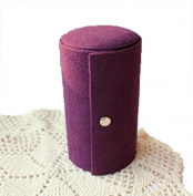 GAMT Retro Three - storey Portable Velvet Cylinder Jewellery Organiser Container Purple
