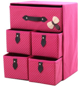 GAMT Non-woven Storage Box Cubes Baskets Organiser Drawers 5 Drawers(38cm30cm22cm)PINK