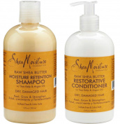 Shea Moisture Raw Shea Butter Restorative Shampoo 380ml and Conditioner Bundle 380ml