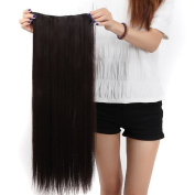 S-noilite 70cm Straight Dark Brown One Piece 5 Clips Clip In Hair Extensions 5A Synthetic Long Hairpiece