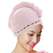 Jack & Rose Microfiber Hair Towel Premium Hair Drying Towel Super Absorbent for Different Hairstyles 23.5 * 25cm Pink