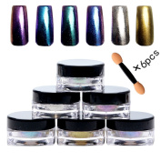 Bluezoo (6 Colours/Set) Mirror Powder Nail Art Decorations, Sequins Chrome Pigment Glitters for DIY UV Nail Art