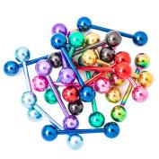 "Lot of 20 Mixed Anodized Titanium Design Tongue Nipple Rings 14ga-5/8"""