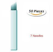 Pinkiou 50 Pcs Microblading Needles Permanent Makeup Manual Tattoo Eyebrow Blade Bevel For Eyebrow Tattoo Pens