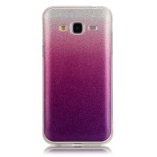 Moonmini Gradient Colour Sparkling Glitter Ultra Slim Fit Soft TPU Phone Back Case Cover for  for  for  for  for Samsung     Galaxy J3 (2015) - Violet