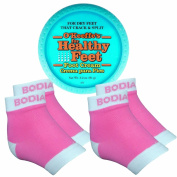 Dry Cracked Heels Repair Bundle with Open Toe Moisturising Silicone Gel Heel Socks (2 Pairs, Pink) and O'Keeffe's Healthy Feet Cream Jar for Home Foot Skin Care