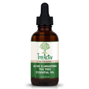TreeActiv Acne Eliminating Tea Tree Essential Oil | All Natural Blemish Spot Treatment | Men Women and Teens | Treats Mild Moderate Severe Cystic Face Body Back Chest Shoulder Butt Acne | 60ml