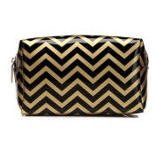HOYOFO Muliti-functional Portable Travel Makeup Tote Bag Cosmetic Pouch for Purse,Black Chevron