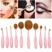 BeautyKate 10 Pcs Pink Toothbrush Oval Makeup Brushes Set Foundation Blush Powder Contour Eyeshadow Lip Curve Oval Brush Kit
