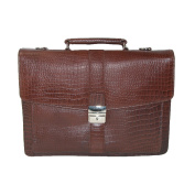 CTM Leather Briefcase with Croc Finish