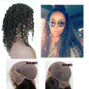 WINBOWIG Lace Front Wig 7A Human Hair Natural Black Deep Curl Hair
