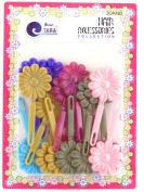 Tara Girls Assorted Self Hinge Flower Barrettes - 18 Pcs.