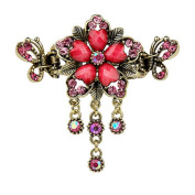 Fashionable Elegant Lady Hair Clips With Diamond Flower & Crystal Butterfly - K