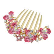 Elegant Women Hair Big Clip With Beautiful Jewellery Flower, Pink