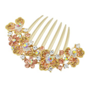 Elegant Women Hair Big Clip With Beautiful Jewellery Flower, Champagne
