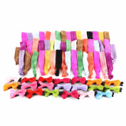 Sinsun No Crease Elastic Ribbon Ponytail Holders Hair Bands Decorations 50 Ties and 20 Pcs Boutique Grosgrain Ribbon Hair Bow Alligator Clips Barrettes