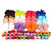 20pcs Baby Girl Grosgrain Ribbon Boutique Hair Bows Alligator Clips and 20pcs Small Bow Hair Alligator Clips Barrettes
