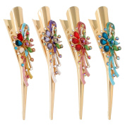 Fashion & Lifestyle Set of 4 Large Metal Alloy Alligator Sectioning Clips for Women and Girls - Pretty Strong Clamp Hair Pins Non-Slip Hair Grips Accessories for Thick Hair, Gold