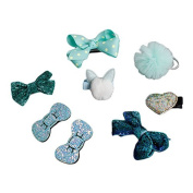 8Pcs Baby Girl's Boutique Hair Clips Barrettes Hair Bows with Original Box-Blue Style